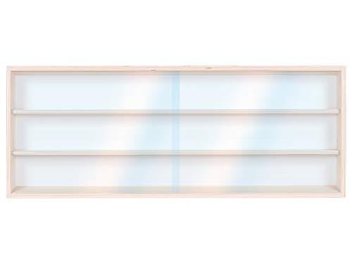 Alsino V60.3 Vetrina espositiva | 60 x 30 x 8,5 cm | in Legno di Betulla Non trattato | 3 Ripiani | 2 Ante plexiglass scorrevoli | Modellismo | Collezionismo | Scala N e H0