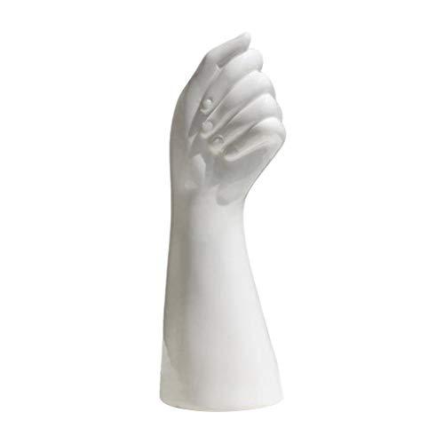 FLAMEER Human Hand Shape Ceramic Vase Artificial Flowers Pot 23.5cm Table Office Ornaments