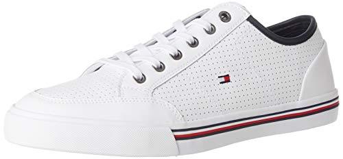 Tommy Hilfiger Herren CORE Corporate Leather Sneaker, Weiß (White Ybs), 46 EU