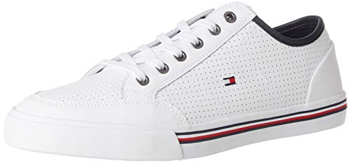 Tommy Hilfiger Core Corporate Leather Sneaker, Zapatillas para Hombre, Blanco (White Ybs), 42 EU