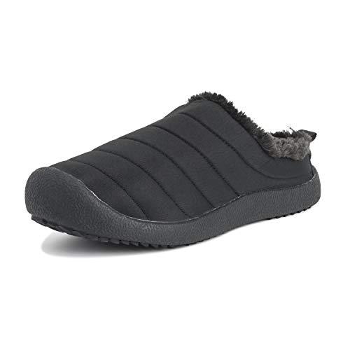 Adulti Unisex Low Durevole Pelliccia Ecologica Inverno Caldo All'Aperto Lusso Pantofole Scarpe - 5 - BLK38 AEA0554
