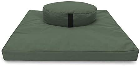 Bean Products Zafu Zabuton Meditation Cushion Round Cotton Earth Filled with Natural Cotton product image