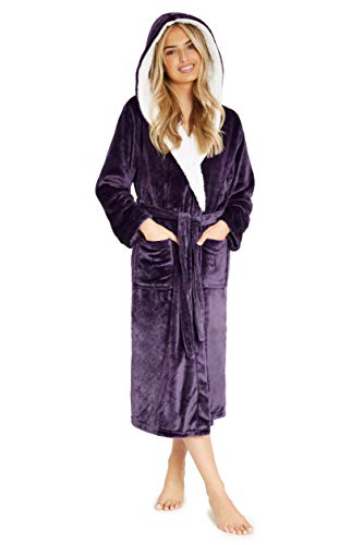 CityComfort® Luxury Dressing Ladies Ladies Bata súper Suave con Forro de Felpa con Albornoz de Felpa para Mujer (S, dunkellila)