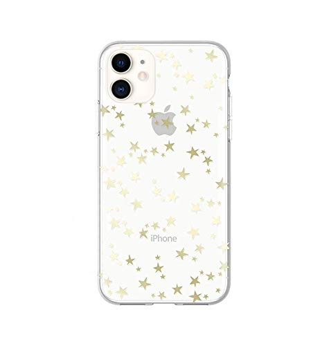 Wingcases for iPhone 11 Cases, Gold Gloss Stylish Stars with Mirro Reflection Crystal Clear Ultra Thin Slim Phone Cover