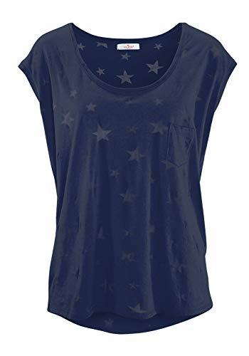ELFIN Damen T-Shirt Kurzarmshirt Basic Tops Ärmelloses Tee Allover-Sternen Ausbrenner Shirt Sommer Shirt Small Navy Blau