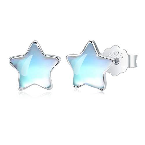 Star Stud Earrings Moonstone Earring S925 Sterling Silver Rainbow Moonstone Star Stud Earrings for Women Hypoallergenic Earrings Minimalist Gifts for girls