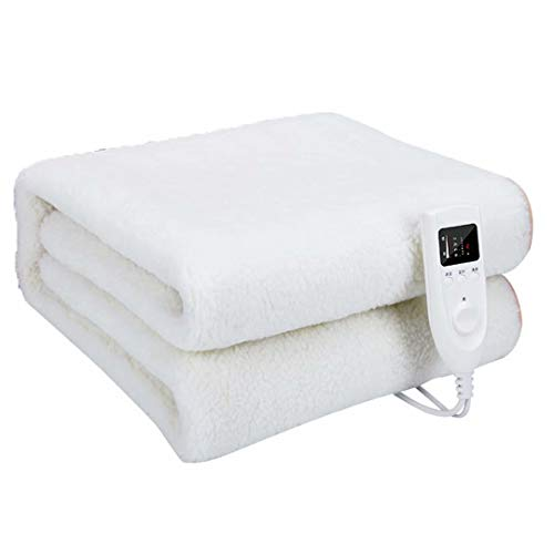 GQF Electric Blanket 5 levels of temperature control and 4 timing options Advanced Overheat Protection with Auto Safety Shut Off Machine Washable and Safe For All Night Use,white 160 * 80cm