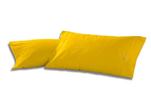 ESTELIA - Pack de Dos Fundas de Almohada Color Mostaza - 45x85 cm - 50% algodón / 50% poliéster - 144 Hilos