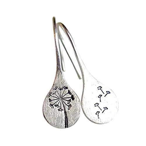 laoonl Pendientes para mujer, pendientes de diente de león inspirados en la naturaleza, simples colgantes de color plateado geométrico