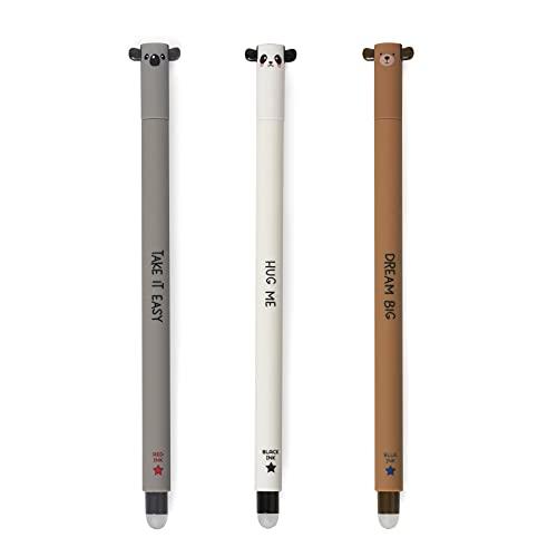 Legami - Juego de 3 bolígrafos de gel borrables, tinta termosensible, diámetro de la punta 0,7 mm, altura: 15 cm, tinta rojo, negro, azul