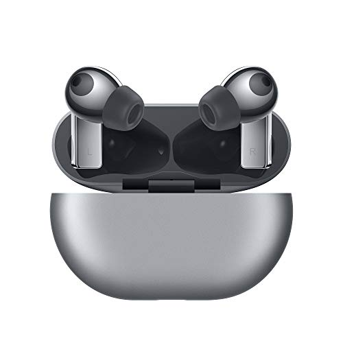 HUAWEI FreeBuds Pro - Auriculares inalámbricos Bluetooth con cancelación inteligente de ruido, sistema de 3 micrófonos, carga inalámbrica rápida, Plata, Pequeño