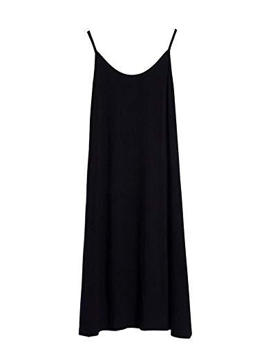Zeagoo Women's Adjustable Spaghetti Strap Sleeveless Lace Trim Slip Cami Dress Extender Black M