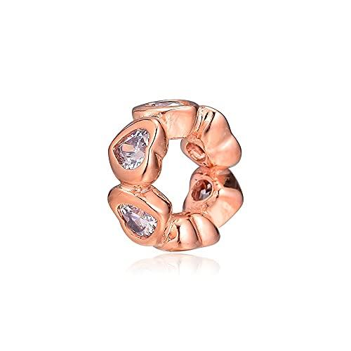 LIIHVYI Se Adapta A Pandora Original 925 Sterling Silver Beads Space In My Heart Berloque Rose Gold para La Fabricación De Joyas DIY Joyería Pulsera Charm Gift
