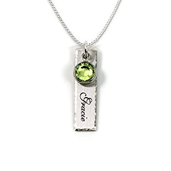 Single Edge-Hammered Personalized Charm Necklace Customize a Sterling Silver Rectangular Pendant with Name of Your Choice Choose a Swarovski Birthstones and 925 Chain Makes Gifts for Her