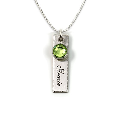 Product Image of the Single Edge-Hammered Personalized Charm Necklace. Customize a Sterling Silver...