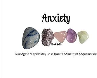 Moonlit Crystals Anxiety Crystal Set/Lepidolite Aquamarine Rose Quartz Blue Quartz/Healing Spiritual Crystals