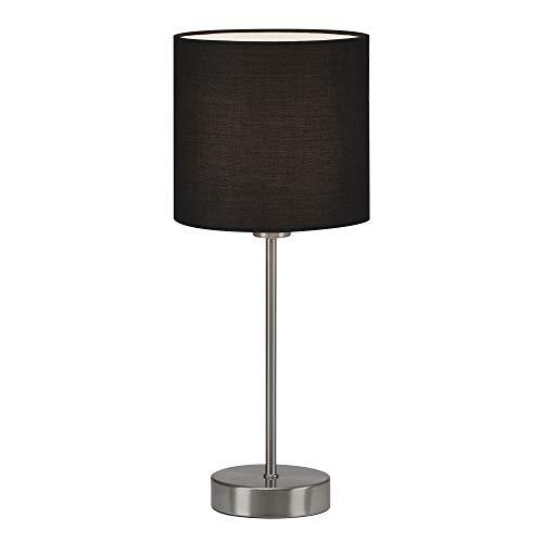 Briloner Leuchten Mesa, Noche, lámpara de Escritorio, 1x E14, Incluye Interruptor de Cable, Pantalla de Tela, Negro, 150x160mm
