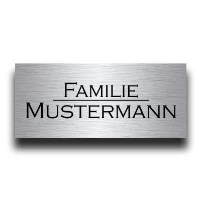 Premium Edelstahl Türschild mit Gravur | Namensschilder Briefkastenschild selbstklebend oder mit Bohrloch viele Größen ab 8x3,5 cm eckig mehr als 80 Motive Klingelschild - Türschilder für die Haustür mit Namen gestalten Willkommen Familie