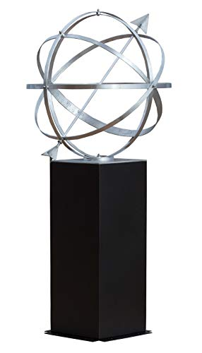 """Sundial Armillary with Pedestal - 26"""" Diameter - Handcrafted Aluminum - Stunning Garden Décor"""