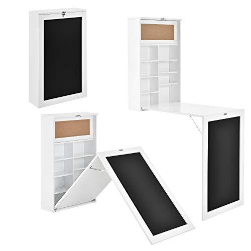 [en.casa] Klappschreibtisch Schreibtisch zum Ausklappen Wandklapptisch mit Tafel und Pinnwand Weiß