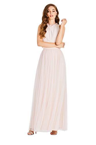 Little Mistress Damen Samantha Maxi Dress with Frill Kleid, Pink (Nude 001), 40 (Herstellergröße: 14)