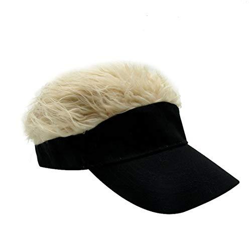 Kafeimali Men's Novelty Adjustable Visor Wig Skull Turban Cap Knit Hip Hop Hat (Black K)