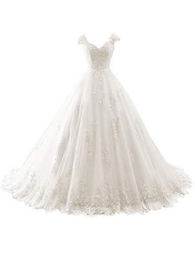 Brautkleider Lang A-Linie Hochzeitskleider Spitzen V-Ausschnitt Brautmode Partykleider mit Schleppe Elfenbein 52