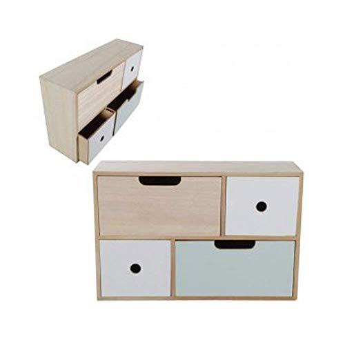 DRULINE Mini Kommode Schränkchen Ablagefläche Stauraum Kleinigkeiten aus Holz | L x B x H 40.5 x 12 x 26.5 cm | Natur weiß Mint