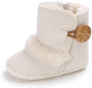 Botas de Bebés Unisexo Zapatos Primeros Pasos Invierno Soft Sole Botas Suaves de Nieve de Suela 0-18 Meses (0-6 Meses, Blanco, Tamaño de Etiqueta 11)