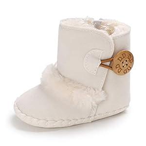 Botas de Bebés Unisexo Zapatos Primeros Pasos Invierno Soft Sole Botas Suaves de Nieve de Suela 0-18 Meses (6-12 Meses, Blanco)
