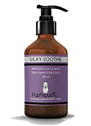 PROMOTES HEALTHY SKIN AND COAT. PupRepublic 'Silky-Soothe' is a highly concentrated veterinary specification of GLA ( Gamma Linoleic Acid), Omega 3,6 and 9, Vitamins A,D3 and E, fish and vegetable oils. HELPS PREVENT DRY,ITCHY,SCALY SKIN, GREASY COAT...