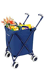 VersaCart Transit -The Original Patented Folding Shopping and Utility Cart Water-Resistant Heavy-Duty Canvas with Cover Double Front Swivel Wheels Compact Folding Transport Up to 120 Pounds Blue