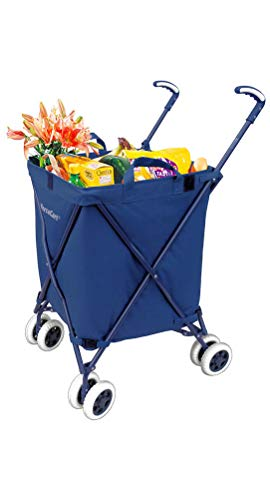 VersaCart Transit Original Folding Shopping and Utility Cart, Water-Resistant Heavy-Duty Canvas with Cover, Double Front Swivel Wheels, Compact Folding, Transport Up To 120 Pounds, Signature Blue