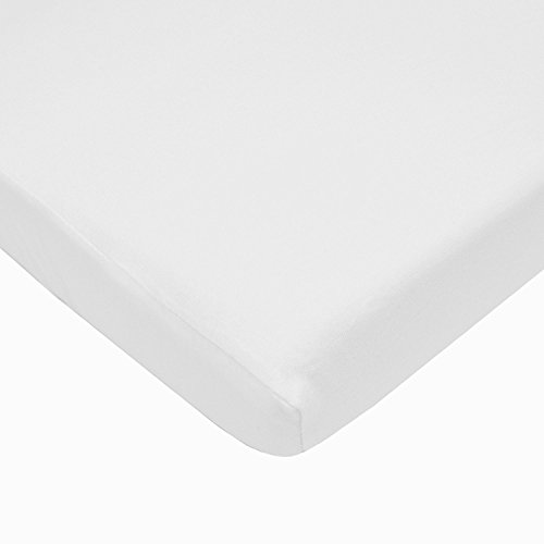 American Baby Company 100% Natural Cotton Value Jersey Knit Fitted Portable/Mini-Crib Sheet, White, Soft Breathable, for Boys and Girls, Pack of 1