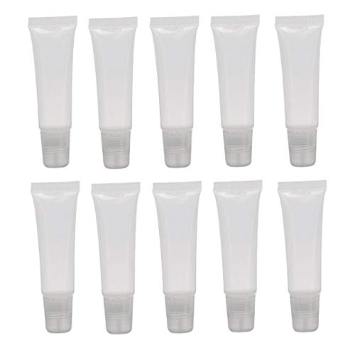 10PCS 15ML 0.5OZ Transparent Empty Mini Plastic Lip Gloss Soft Tubes with Screw Cap Lip Balm Hand Cream Holder DIY Reusable Refillable Vial Container Squeeze Bottle for Travel Daily Life
