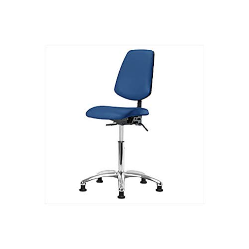 Thomas 1163W33 ESD/Cleanroom Vinyl Medium Bench Height Chair with Medium Back, Chrome Base, Without Tilt, Without Arms, Without Foot Ring, ESD Casters, Blue