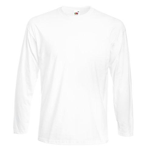 Fruit of the Loom Mens Super Premium Long Sleeve Crew Neck T-Shirt (XL) (White)