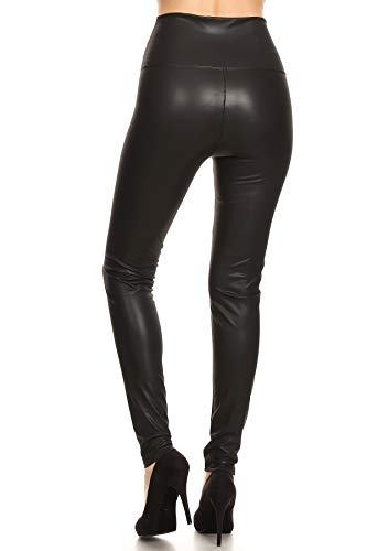 FXLD-Black-M Faux Leather High Waist Stretchy Leggings, Medium