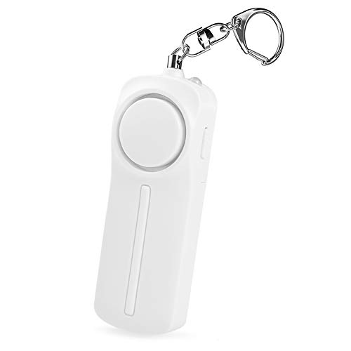 130dB Personal selfDefense Alarm Alarm Keychain LED Flashlight Alarm Outdoor selfDefense Screaming Alarm for Elderly Kids and Girls Self Defense Electronic Device as Bag Decoration White
