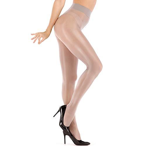 ARRUSA Medias de seda superatractivas para mujer con control transparente brillante superior con pies Medias de seda ultra brillante de cintura alta..., Negro