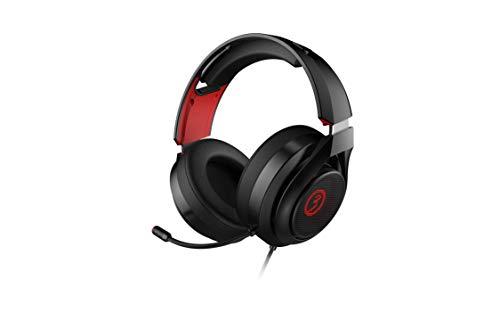 Ozone Rage X40 Gaming-Kopfhörer - Kopfhörer mit Mikrofon - Virtual 7.1 Sound, Software, 50 m Lautsprecher, rote LED, einstellbares Kopfband, Controller, PS4-kompatibel, ergonomisch, schwarz