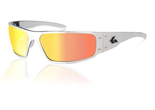 Gatorz Magnum Sonnenbrille, Metallaluminiumrahmen, Militär Tactical Style, ungepolter Smoked/Sunburst Spiegel-Objektiv Poliert Einheitsgröße