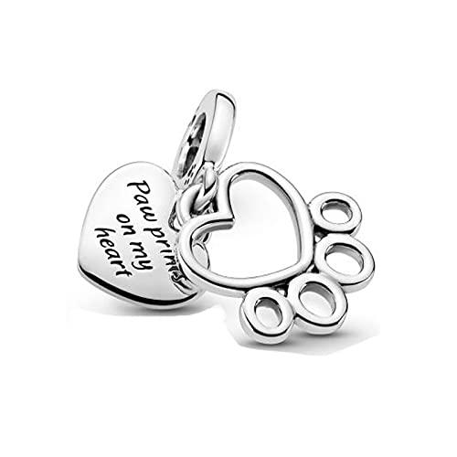 925 Silverpandorabeads Charm Dangle New Sterling Silver Beads Hearts Paw Print Dangle Charm Fit Original Pandora Pulsera Mujer Fabricación De Joyas