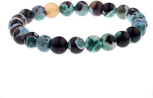 FLYAND Pulsera de Piedra Mujer, 7 Chakra 8mm Beads de Piedra Natural Turmalina Verde Brazalete Elástico Joyería Orga de Yoga Energía Equilibrio Reiki Charm Diffuser Regalo para un Amigo
