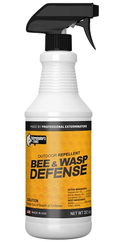 Exterminators Choice Bee & Wasp Defense | 32 Ounce Spray | Repels Most Types of Bees & Wasps | Quick, Easy Pest Control | Safe Around Kids & Pets