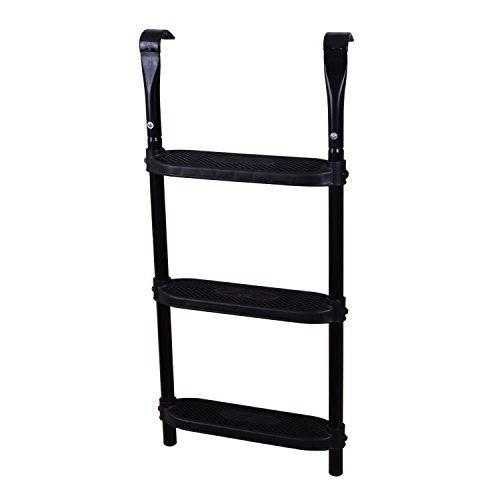 Ampel 24 Trampolin Leiter 86 cm lang, Einstiegsleiter mit 3 Breiten Stufen, praktischer Einstieg für Gartentrampoline, schwarz