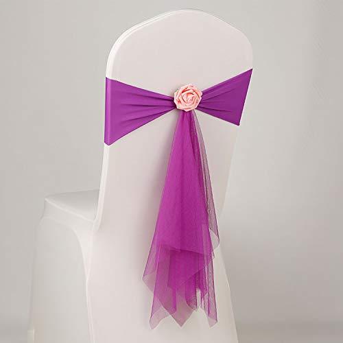 tggh Cinturón para silla de boda, 12 colores de licra con bola de rosa, flor artificial y organza para silla, banda de lazo de licra (color : PLUM)