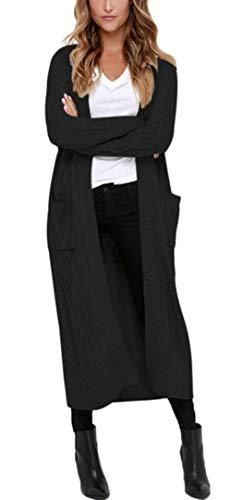 Aleumdr Strickmantel Strickjacke Damen Gestrickt Lose Cardigan Wintermantel Causal Cardigan Parkajacke Outwear mit Taschen und Langarm,,Schwarz,M