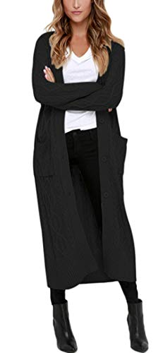 Aleumdr Lang Strickmantel Strickjacke Pullover Pulli Zopfmuster Cardigan Lose Lose Mantel Jacke Cardigan Gestrickt,Schwarz,XL