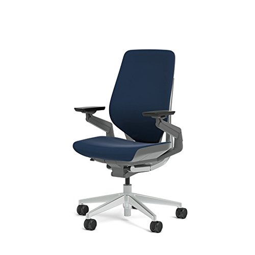 Steelcase Gesture 442 Stool Chair - Cogent: Connect Royal Blue Fabric, Medium Seat Height, Wrapped Back, Dark on Dark Frame, Lumbar Support